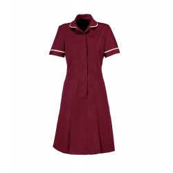 Zip Front Dress (Burgundy with Cream Trim) - HP297