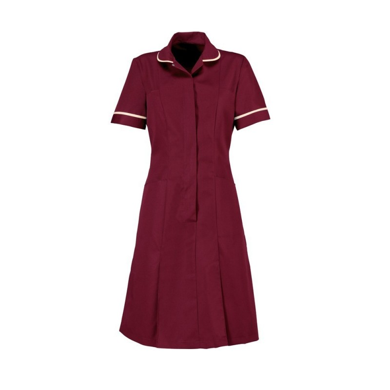 Zip Front Dress (Burgundy/Cream) - HP297
