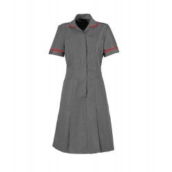 Zip Front Dress (Convoy Grey With Red Trim) - HP297