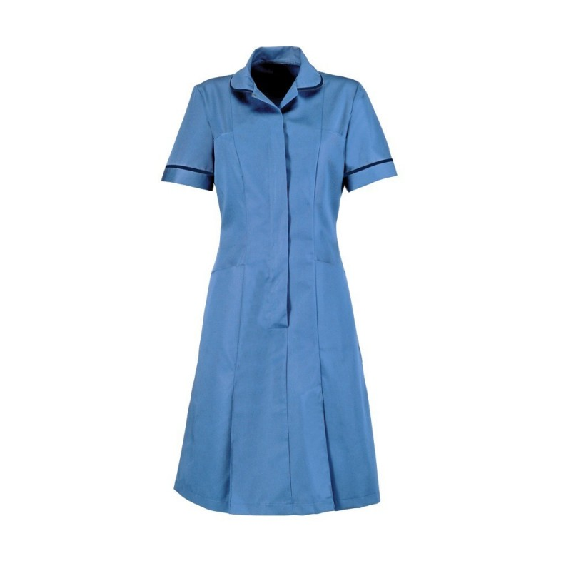 Zip Front Dress (Hospital Blue With Navy Trim) - HP297