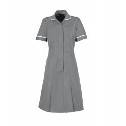 Zip Front Dress (Hospital Grey With White Trim) - HP297