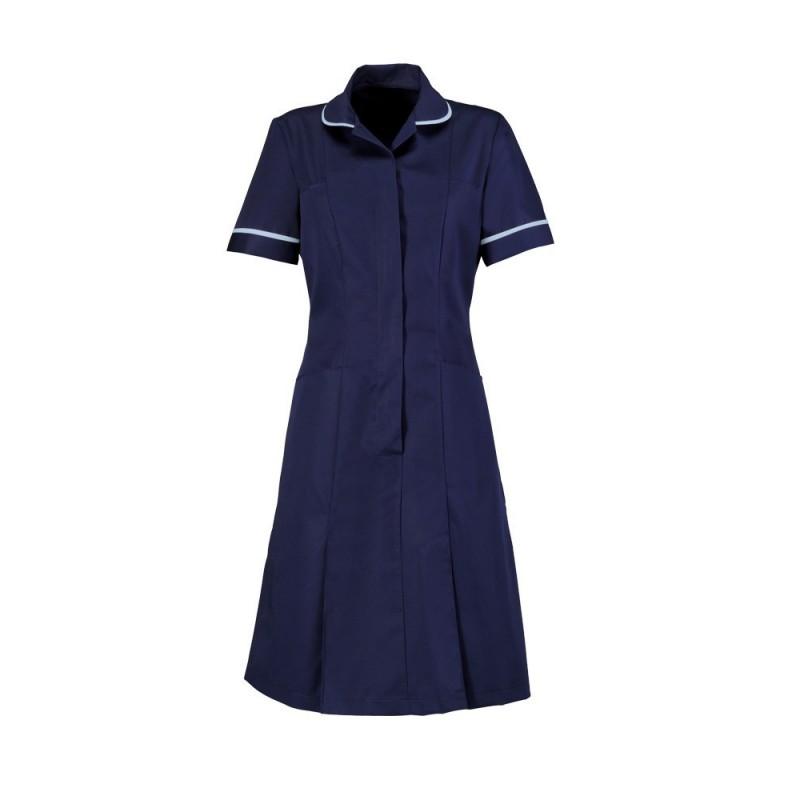 Zip Front Dress (Sailor Navy With Pale Blue Trim) - HP297