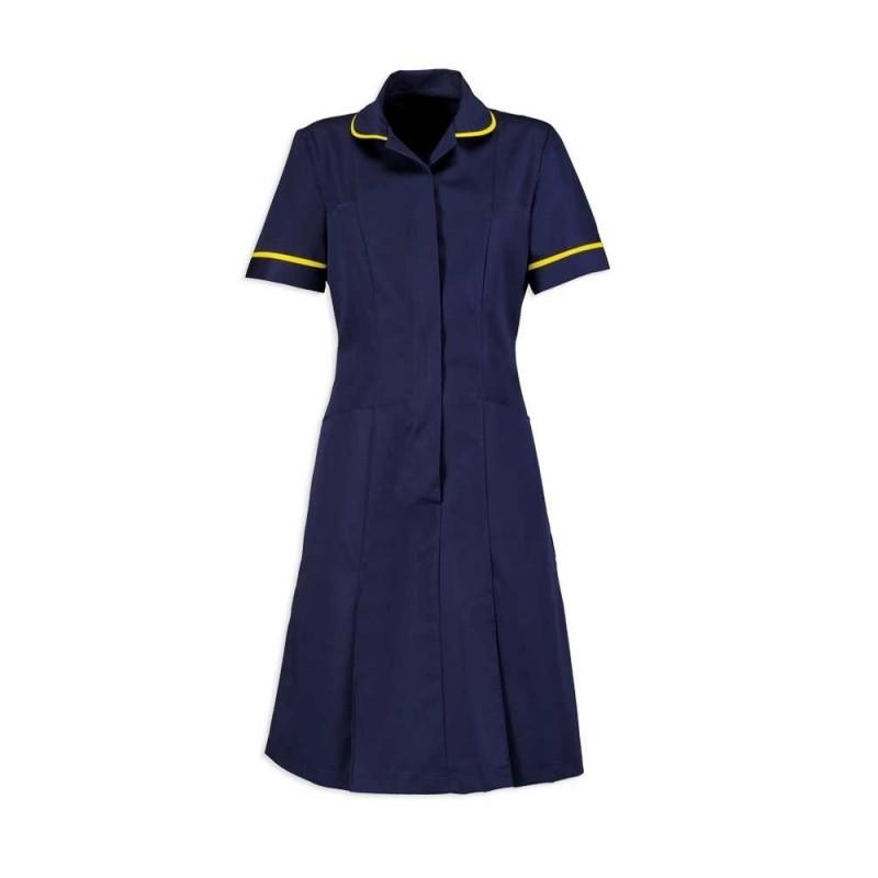 Zip Front Dress (Sailor Navy With Yellow Trim) - HP297