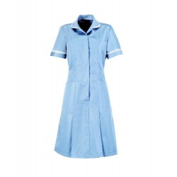 Zip Front Dress (Pale Blue with White Trim) - HP297