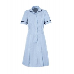 Zip Front Dress (Pale Blue with Navy Trim) - HP297