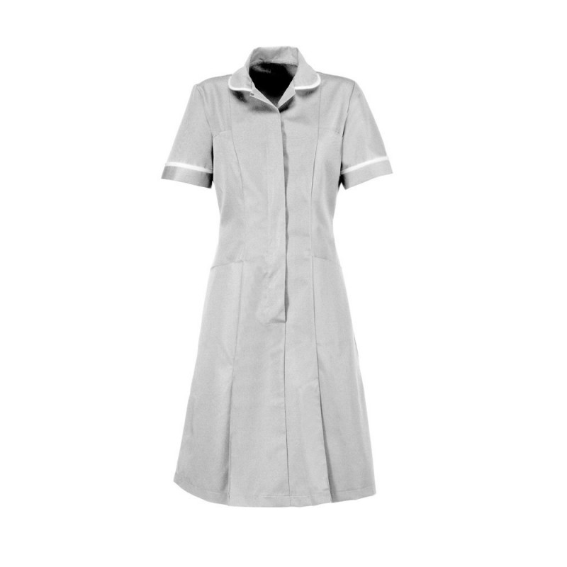 Zip Front Dress (Pale Grey With White Trim) - HP297