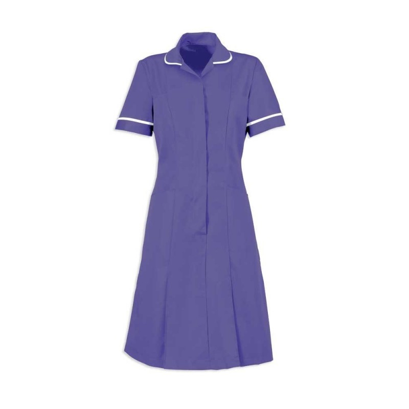 Zip Front Dress (Purple With White Trim) - HP297