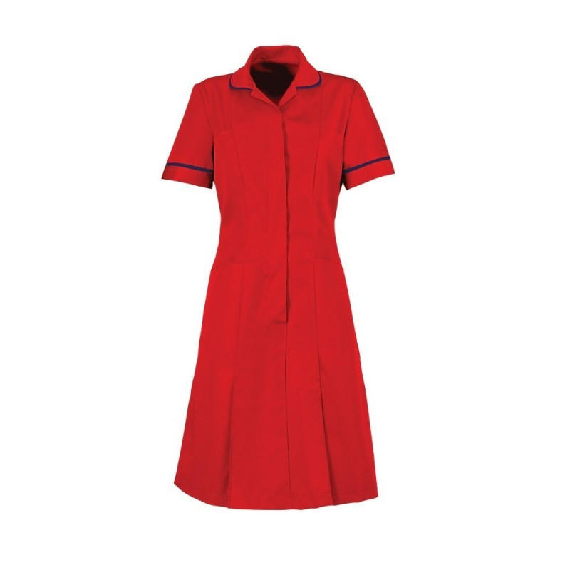 Zip Front Dress (Red With Navy Trim) - HP297