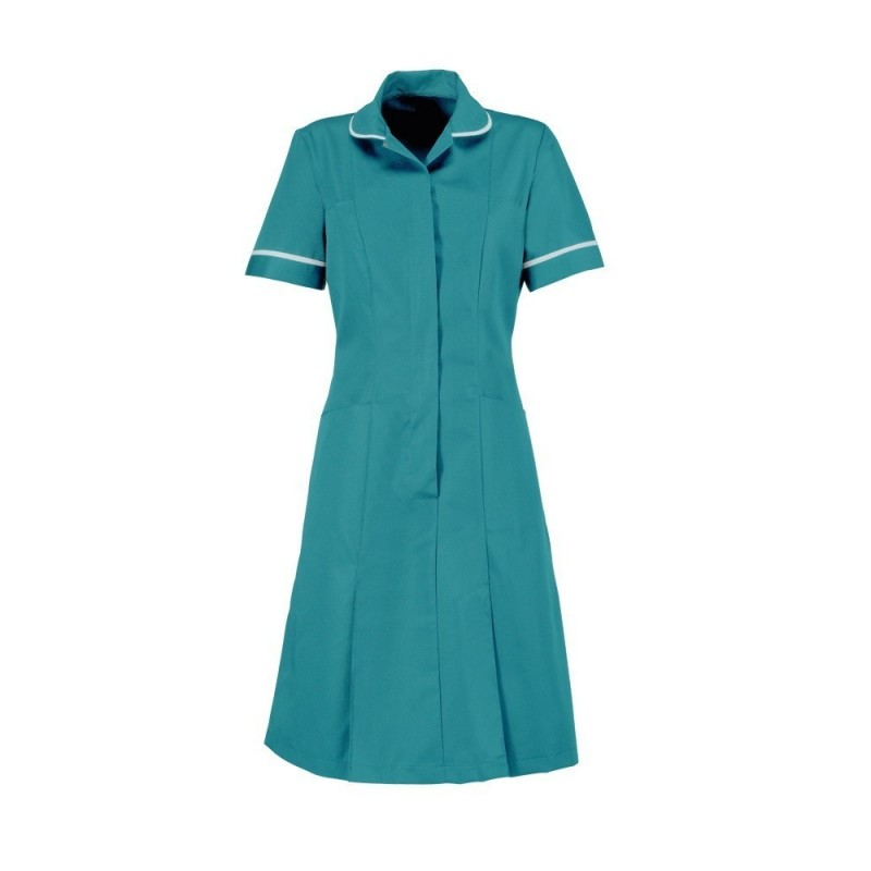 Zip Front Dress (Turquoise With White Trim) - HP297