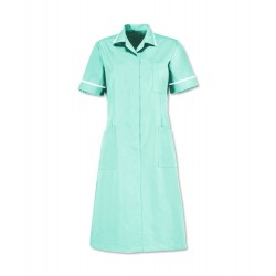 Zip Front Dress (Aqua with White Trim) - D312