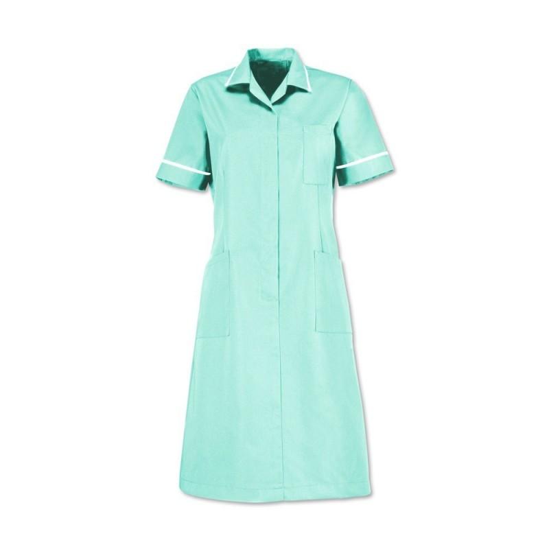 Zip front dress (Aqua With White Trim) D312