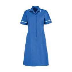 Zip Front Dress (Hospital Blue with White Trim) - D312