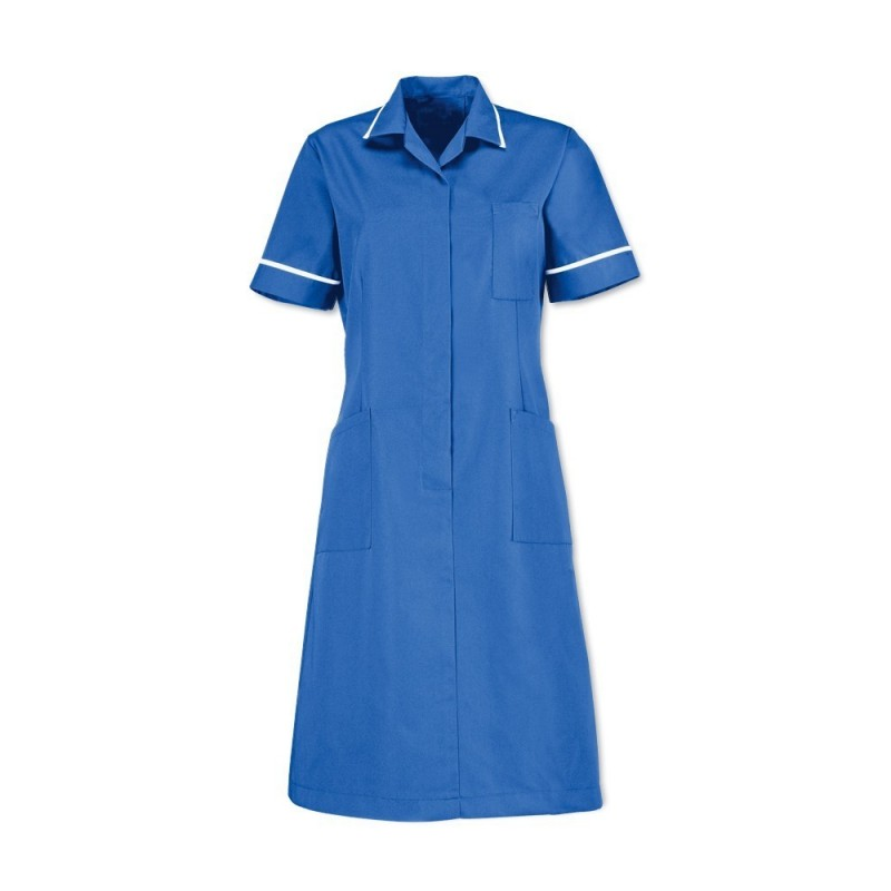 Zip front dress (Hospital Blue With White Trim) D312