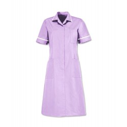 Zip front dress (Lilac With White Trim) D312