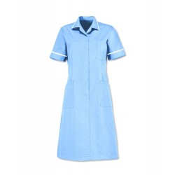 Zip Front Dress (Pale Blue with White Trim) - D312