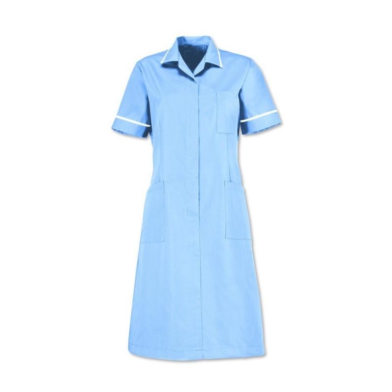 Zip front dress (Pale Blue With White Trim) D312