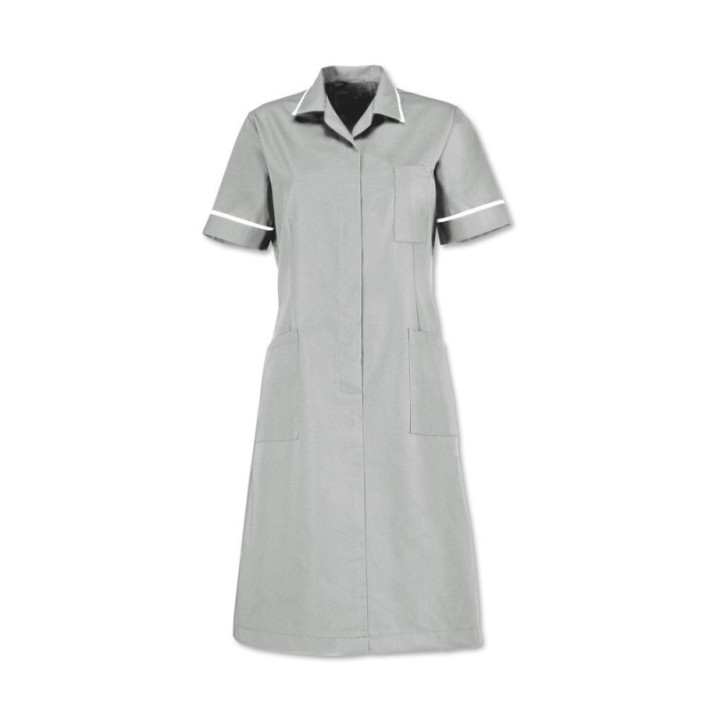 Zip front dress (Pale Grey With White Trim) D312