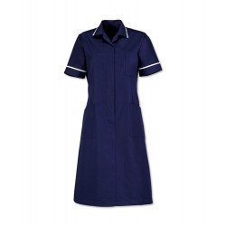 Zip Front Dress (Sailor Navy with White Trim) - D312