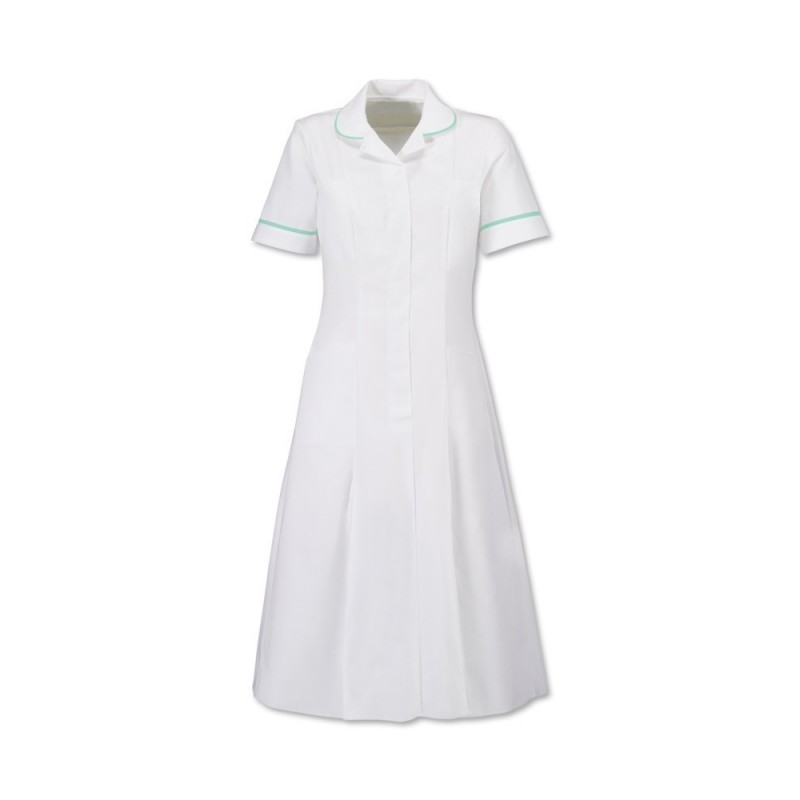 Zip Front Dress (White With Aqua Trim) - HP370W