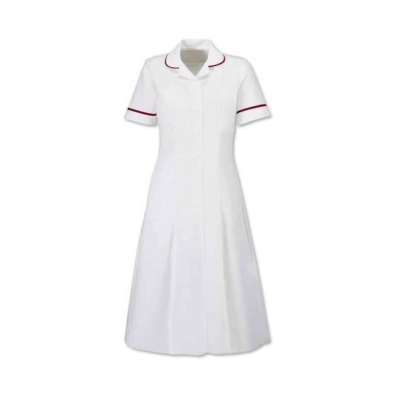 Zip Front Dress (White With Burgundy Trim) - HP370W