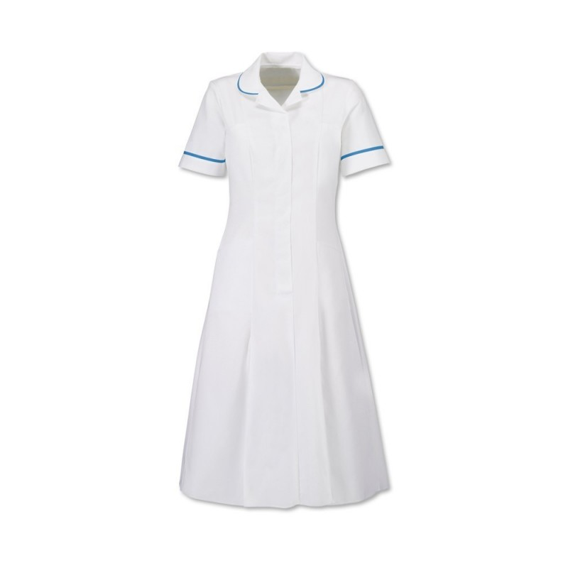Zip Front Dress (White With Hospital Blue Trim) - HP370W