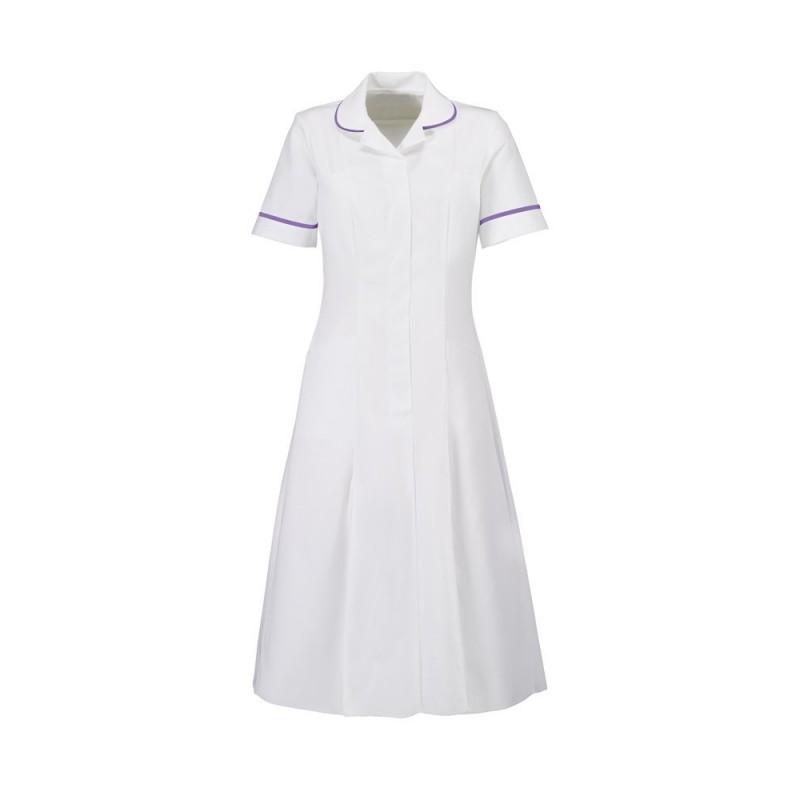 Zip Front Dress (White With Purple Trim) - HP370W