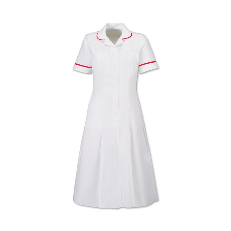 Zip Front Dress (White With Red Trim) - HP370W