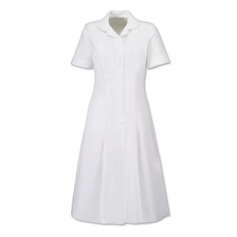 Zip Front Dress (White With White Trim) - HP370W