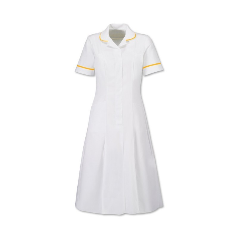Zip Front Dress (White With Yellow Trim) - HP370W