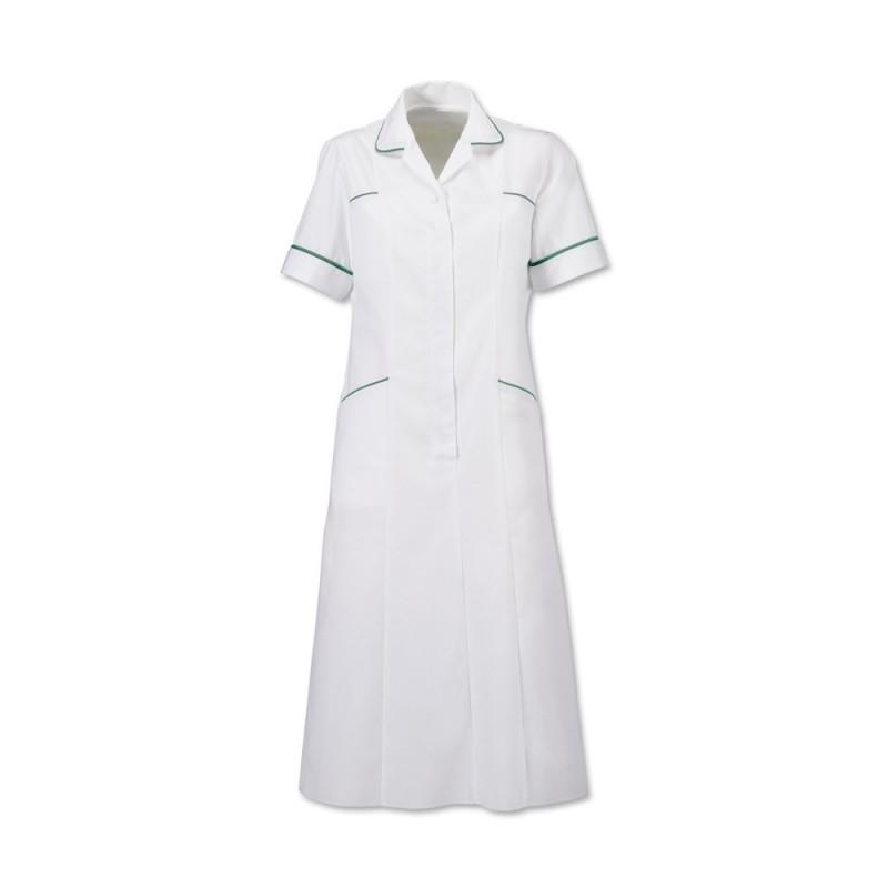 Trim Dress (White With Bottle Green Trim) H211W