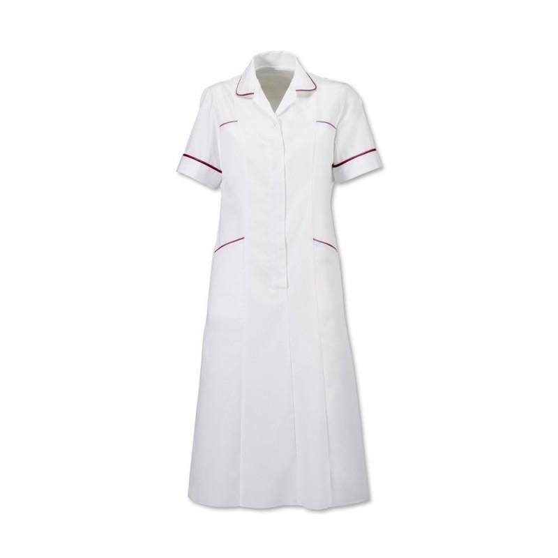 Trim Dress (White With Burgundy Trim) H211W