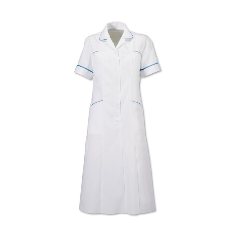 Trim Dress (White With Hospital Blue Trim) H211W