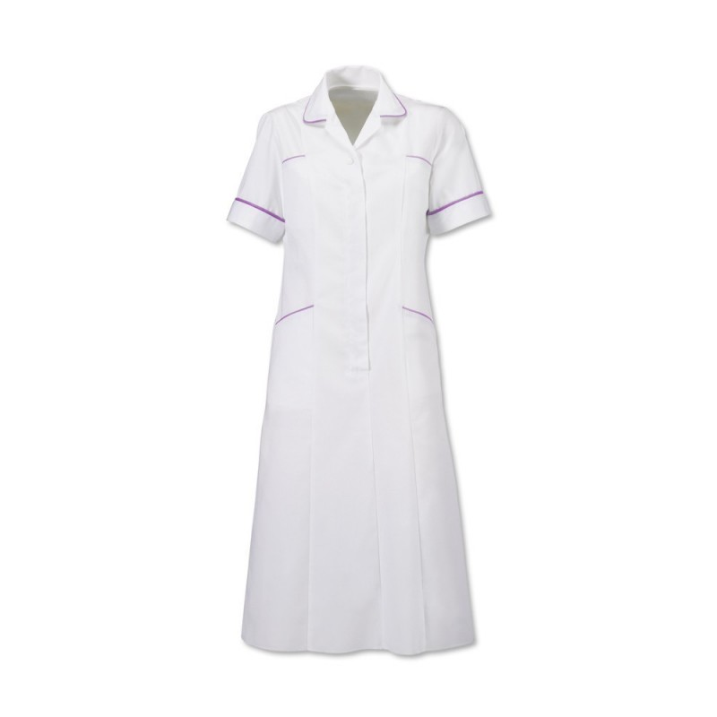 Trim Dress (White With Lilac Trim) H211W
