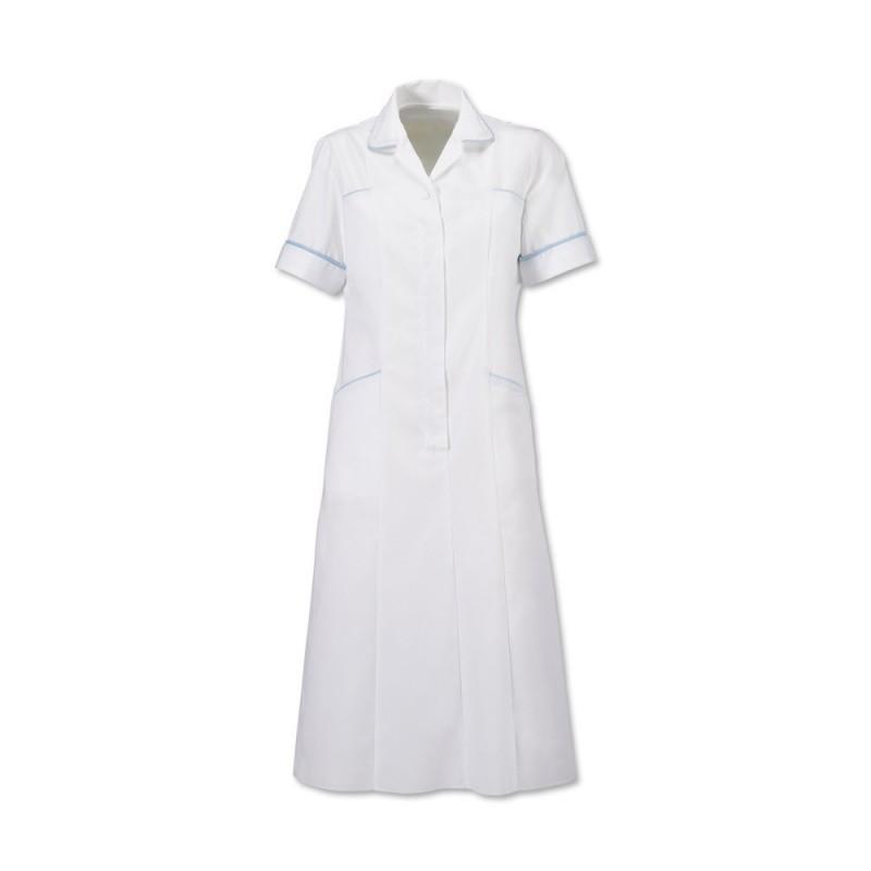 Trim Dress (White With Pale Blue Trim) H211W
