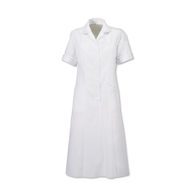 Trim Dress (White With White Trim) H211W