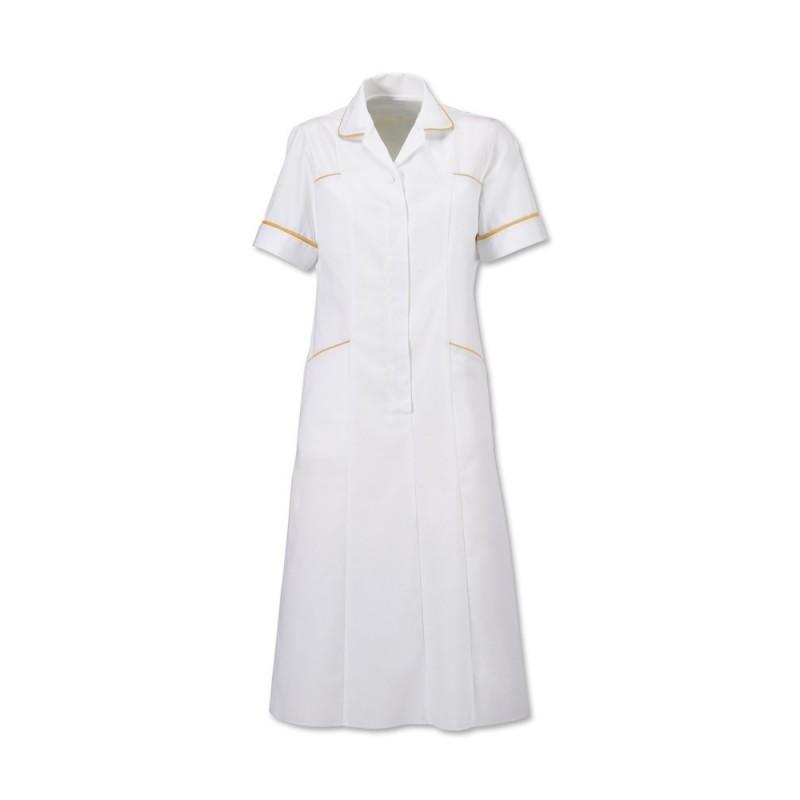 Trim Dress (White With Yellow Trim) H211W