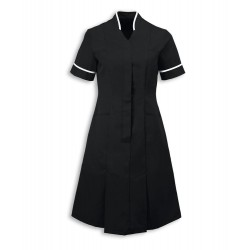Mandarin Collar Dress (Black with White Trim) - NF51