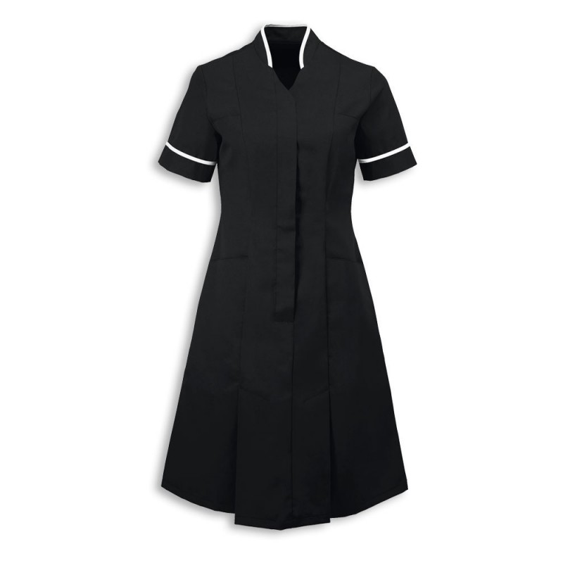 Mandarin Collar Dress (Black With White Trim) - NF51