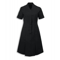Mandarin Collar Dress (Black With Black Trim) - NF51