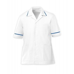 Men's Healthcare Tunic (White with Royal Box Trim) - G103