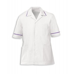 Men's Healthcare Tunic (White with Purple Trim) - G103