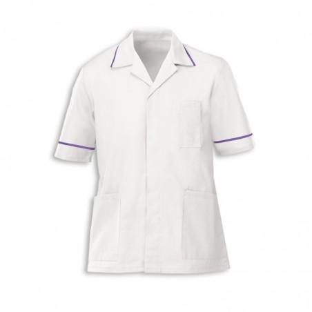 Men's Tunic (White with Purple Trim) - G103