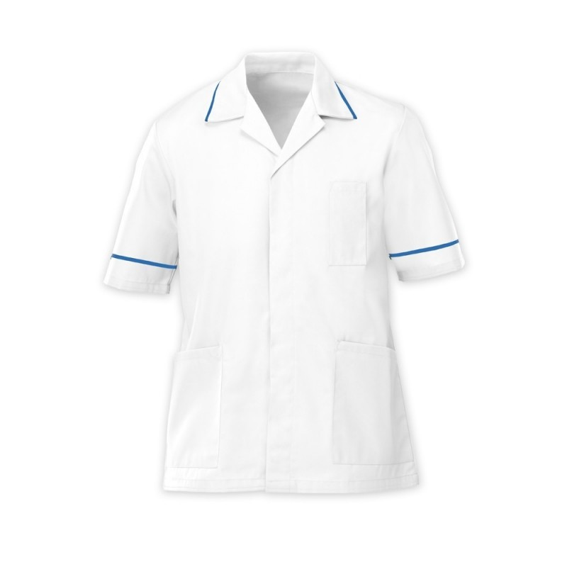 Men's Tunic (White with Hospital Blue Trim) - G103