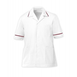 Men's Healthcare Tunic (White with Burgundy Trim) - G103