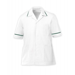 Men's Healthcare Tunic (White with Bottle Green Trim) - G103