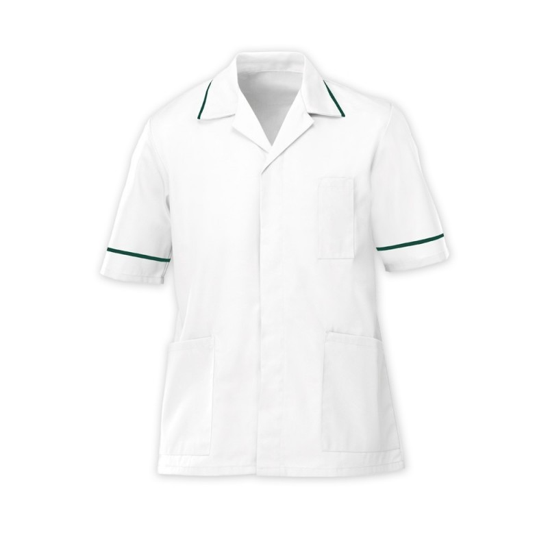 Men's Tunic (White with Bottle Green Trim) - G103