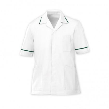 Men's Tunic (White with Bottle Green Trim) - G103