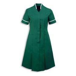 Mandarin Collar Dress (Bottle Green With White Trim) - NF51