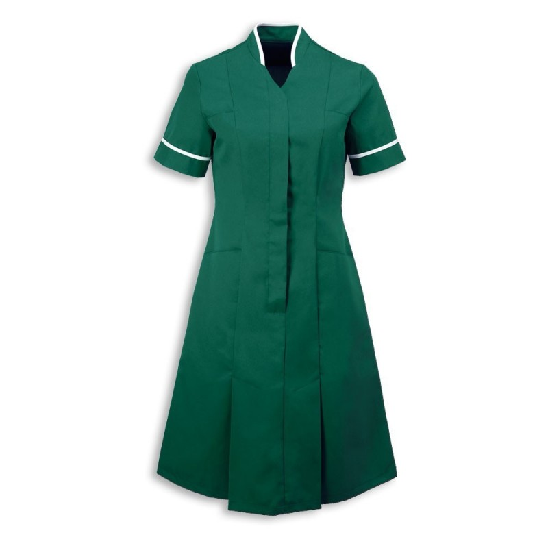 Mandarin Collar Dress (Bottle Green With White Trim) - NF51