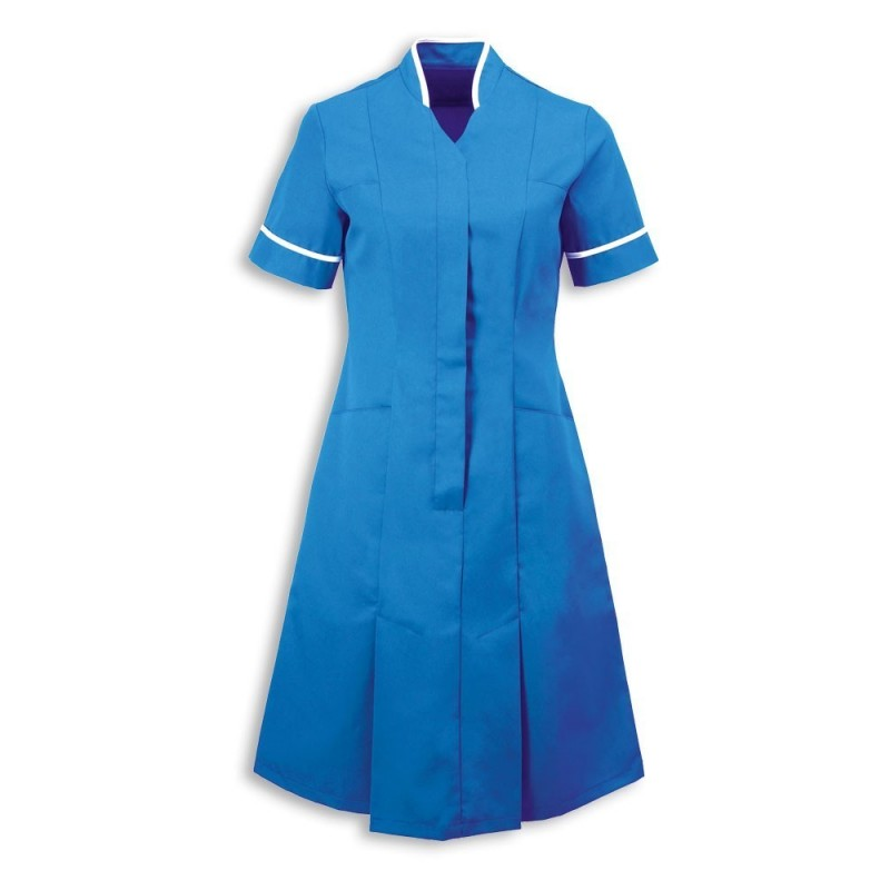 Mandarin Collar Dress (Hospital Blue With White Trim) - NF51